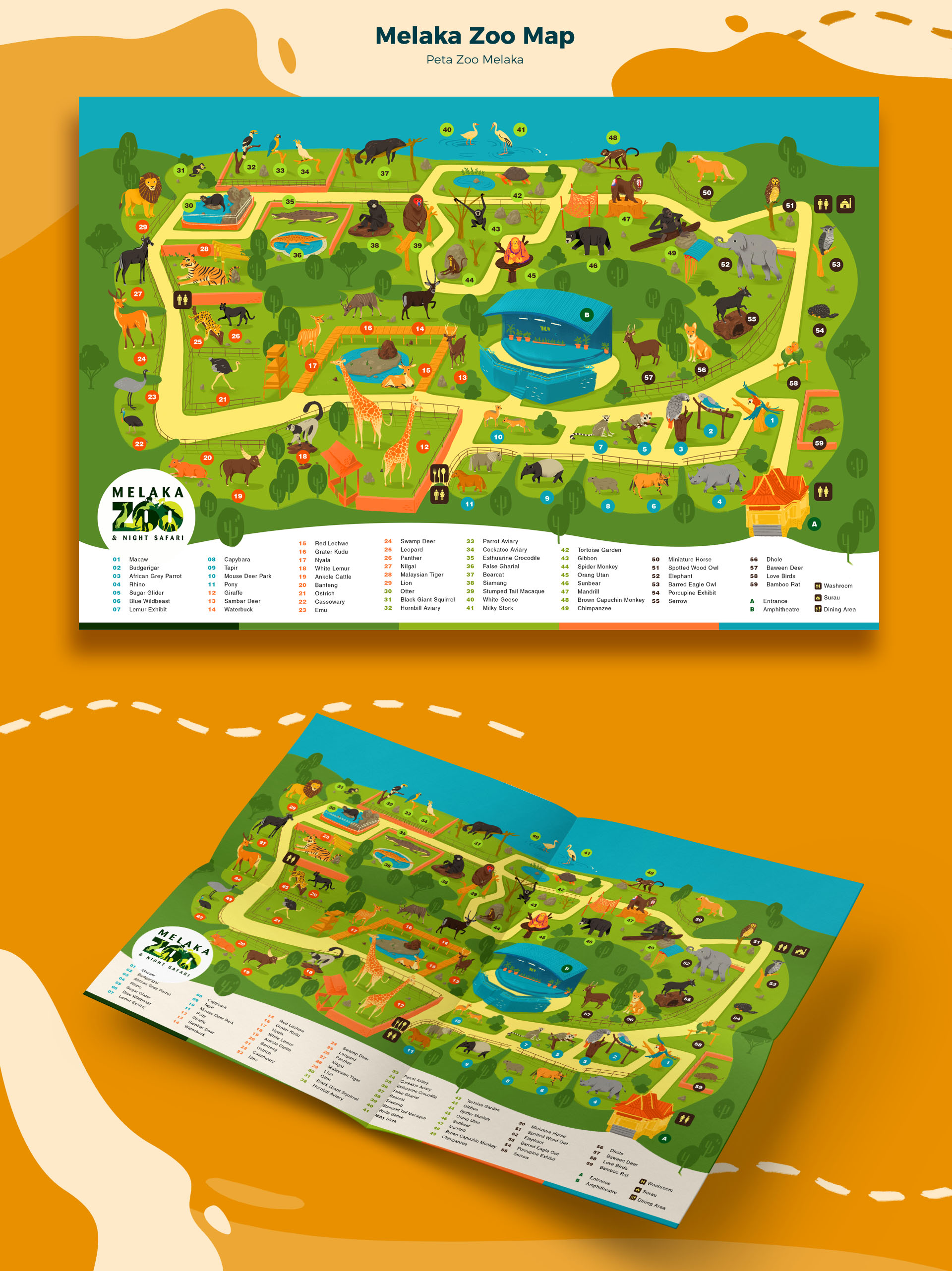 Melaka Zoo Map animal illustration