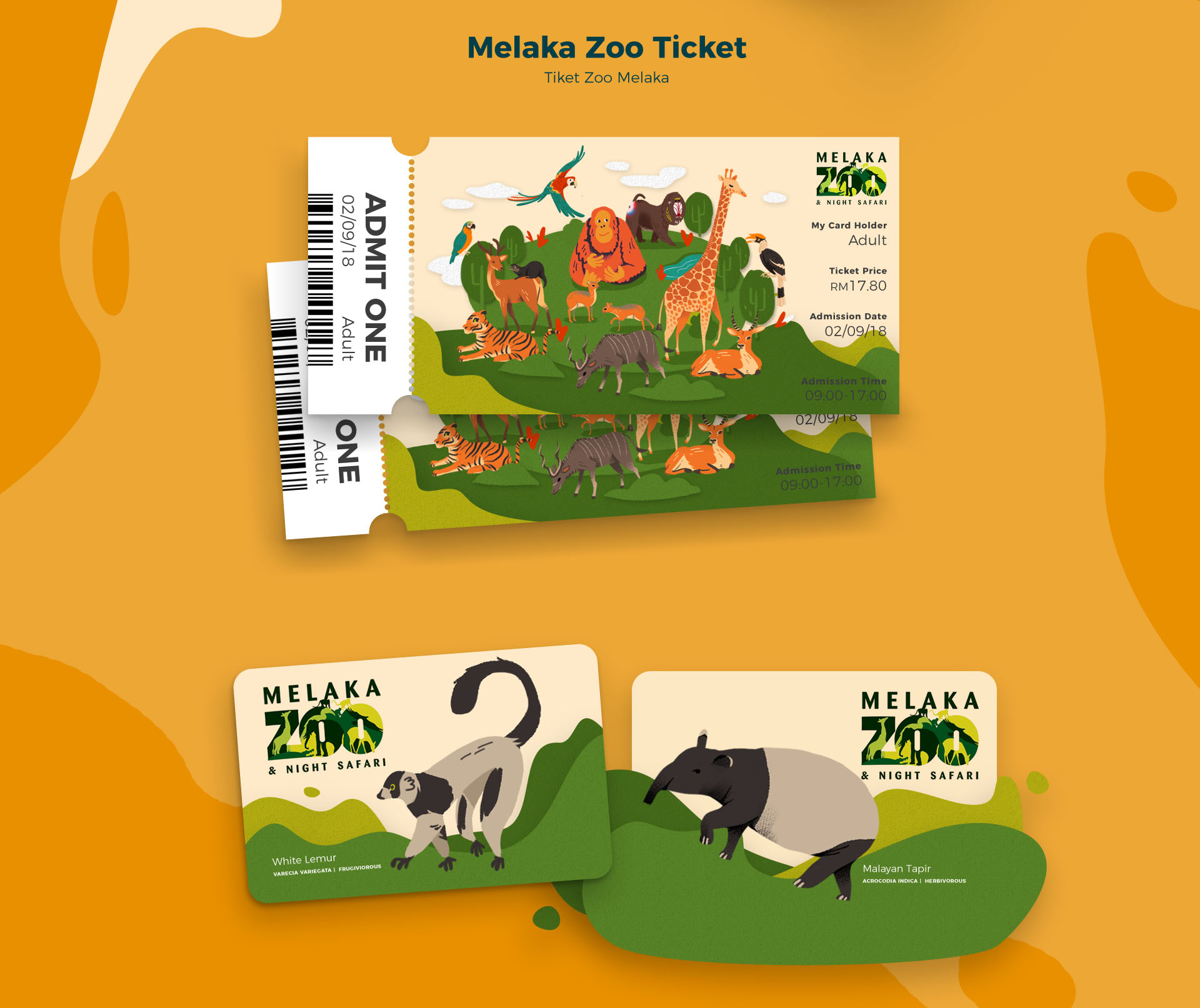 Melaka Zoo Map Ticket Illustration