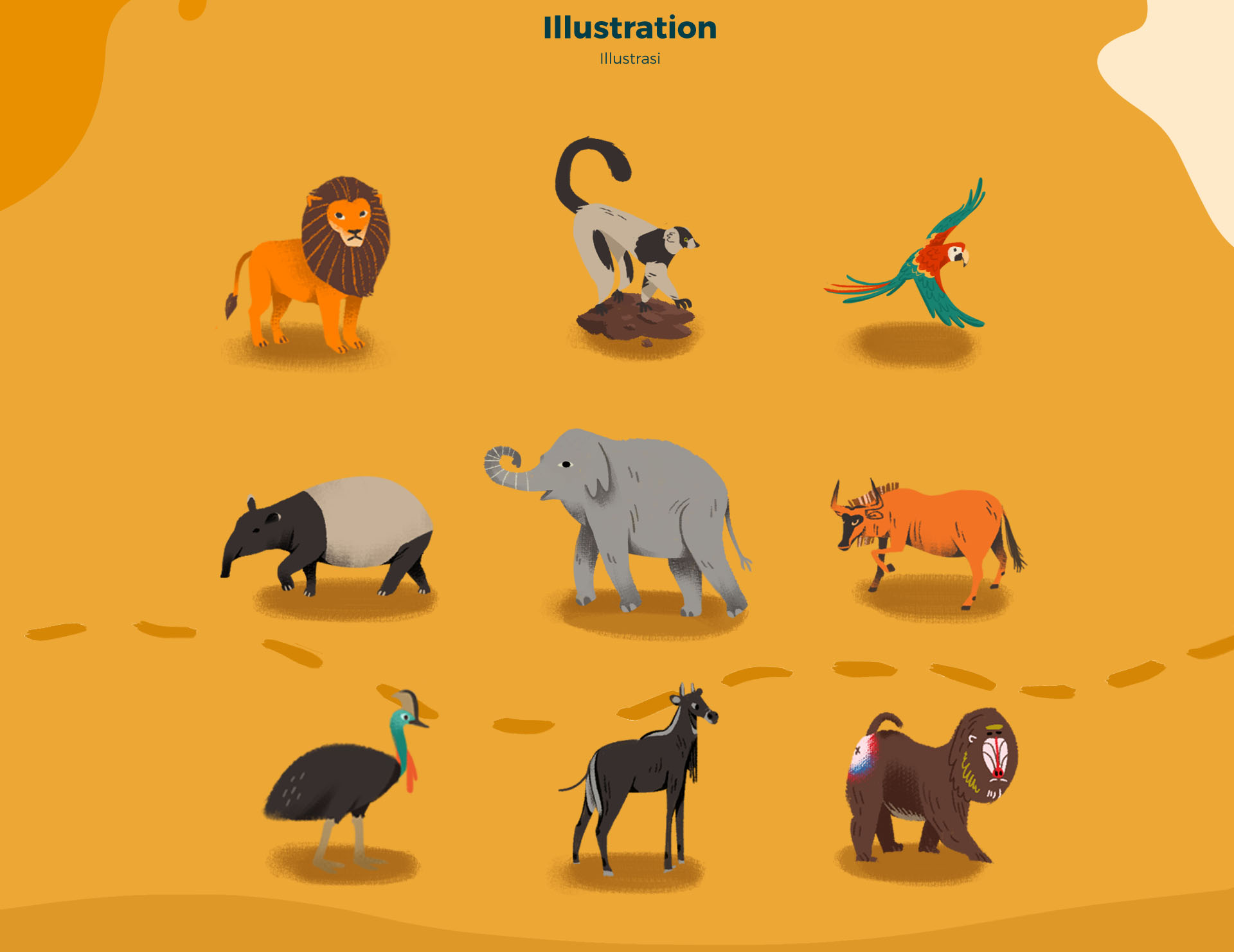 Melaka Zoo Animal lion, tapir, elephant, parrot, lemur, monkey Illustration