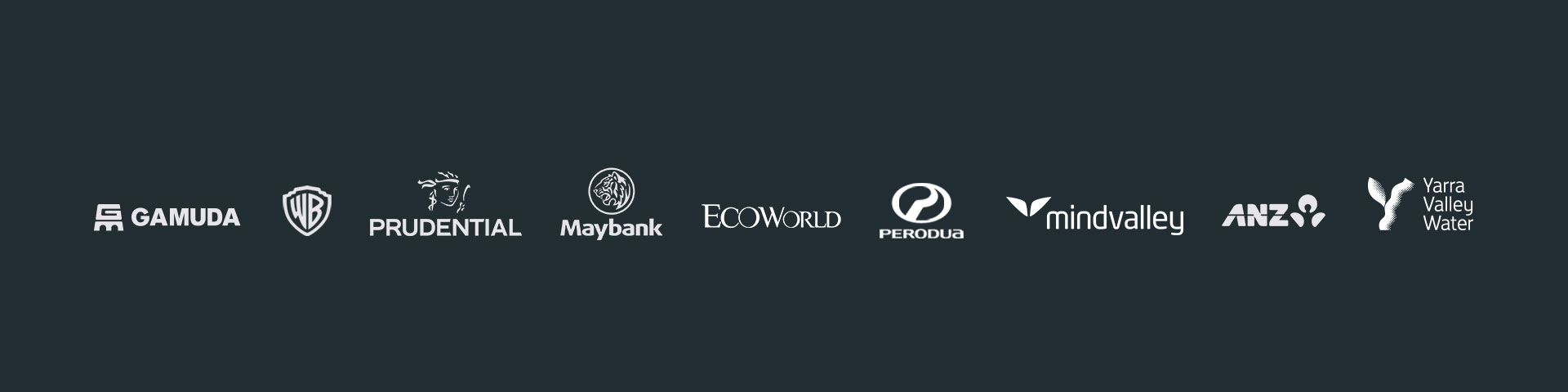 gamuda warner brother maybank ecoworld perodua mindvalley anz and yarra valley water proud client